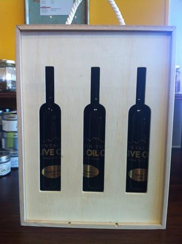 Wooden gift box that holds 3 bottles of olive oil or vinegar