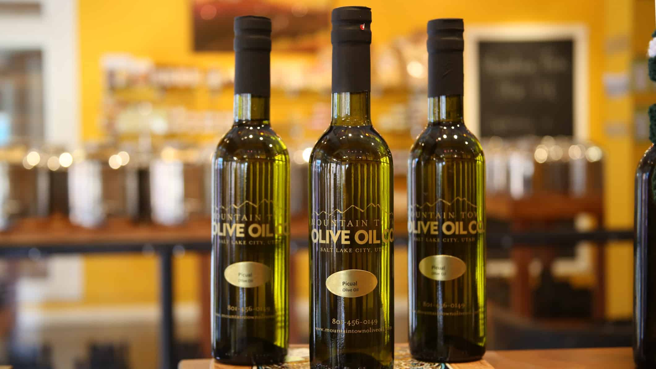bottles of mountain town olive oil