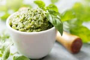 closeup of freshly made pesto
