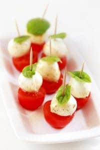 Appetizer with marinated mozzarella and snack tomatoes